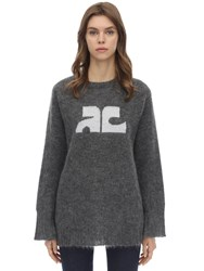 Courreges Long Sleeved Mohair Blend Sweater Grey