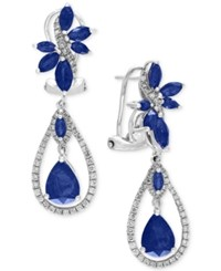 Effy Royal Bleu Sapphire 4 3 4 Ct. T.W. And Diamond 5 8 Ct. T.W. Fancy Drop Earrings In 14K White Gold Blue