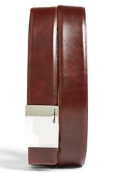 Men's Big And Tall Santoni Leather Belt Burgundy