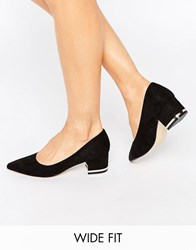 New Look Wide Fit Metal Detail Block Heel Black