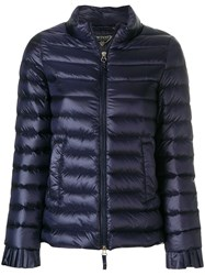 Twin Set Fitted Puffer Jacket Polyamide Polyester Feather Down Blue