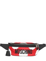 Moschino Polka Dot Printed Logo Belt Bag Red
