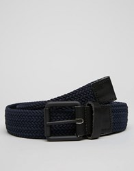 Selected Jack Woven With Leather Trim Belts Navy
