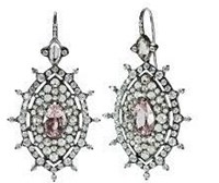 Nam Cho 18K White Gold Black Rhodium Morganite 5.6 Cts Rose Cut White Diamonds 4.3 Cts White Moonstone 3.4 Cts Silver