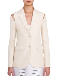 Jil Sander Alonso Cold Shoulder Silk Blazer Beige