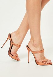 Missguided Bronze Barley There Heeled Mules