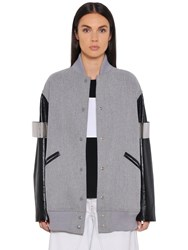 Maison Martin Margiela Wool Felt And Faux Leather Varsity Jacket