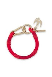 Mcq By Alexander Mcqueen Woman Swallow Gold Tone Braided Cord And Leather Bracelet Red