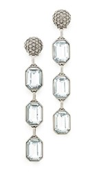 Marc Jacobs Stone Dangle Earrings Crystal Antique Silver