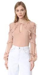 Nicholas Silk Georgette High Neck Ruffle Blouse Vintage Rose
