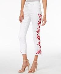 Inc International Concepts Embroidered White Wash Cropped Jeans Only At Macy's White Denim