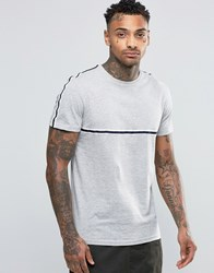 New Look T Shirt In Grey With Striped Taping Grey