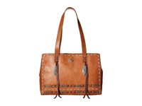 American West Mohican Melody Shopper Tote Golden Tan Antique Brown Tote Handbags