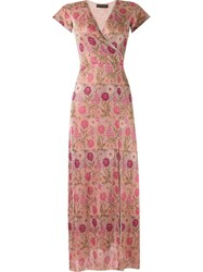 Cecilia Prado Floral Long Knitted Dress Pink And Purple