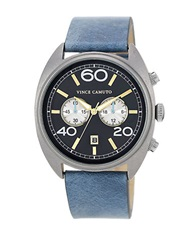 Vince Camuto Mens Silver Tone And Sky Blue Strap Watch