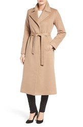 Fleurette Women's Notch Collar Long Cashmere Wrap Coat Camel