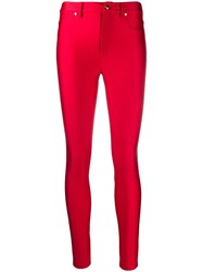 Versace Jeans Couture High Waisted Skinny Trousers Red
