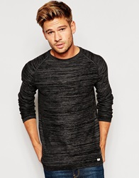Blend Of America Blend Crew Knit Jumper Slim Fit Melange Black