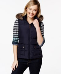 Charter Club Hooded Quilted Vest Faux Fur Trim Only At Macy's Deepest Navy