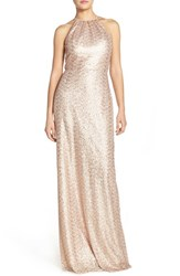 Women's Amsale 'Chandler' Sequin Tulle Halter Style Gown Rose Gold