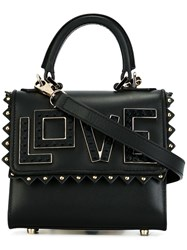 Les Petits Joueurs 'Love' Studded Small Tote Black