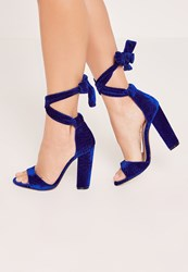 Missguided Cobalt Blue Croc Pattern Block Heel Sandals