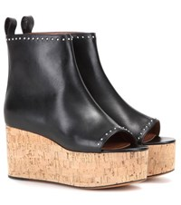 Givenchy Eleg Peep Toe Leather Wedges Black