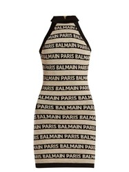 Balmain Logo Intarsia Knitted Mini Dress Beige Multi