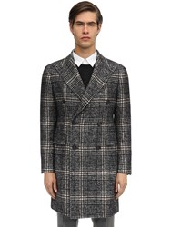 Tagliatore Double Breasted Cotton And Wool Blend Coat Black