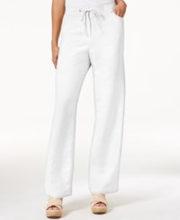Jm Collection Petite Linen Blend Drawstring Pants Only At Macy's Bright White