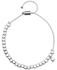 Nine West Silver Tone Metallic Bead Slider Bracelet