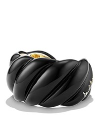 David Yurman Black Resin Sculpted Cable Cuff Bracelet With 18K Gold Vermeil