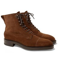 Edward Green Galway Cap Toe Suede Boots Brown