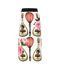Dolce And Gabbana Printed Silk Pencil Skirt Multicoloured