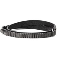 Miansai Moore Leather Rhodium Plated Wrap Bracelet Charcoal