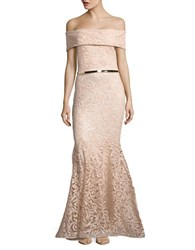 Nicole Bakti Sequined Off The Shoulder Gown Nude