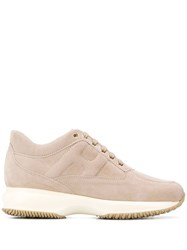Hogan Suede Lace Up Sneakers Neutrals