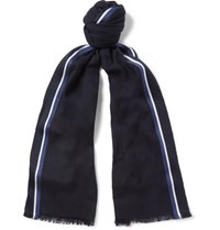 Loro Piana Striped Silk Cashmere And Cotton Blend Scarf Navy