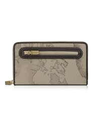 Alviero Martini 1A Classe Geo Print Zip Around Wallet Dove Gray