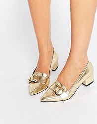 Asos Salma Pointed Loafers Gold