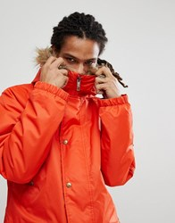 Analog Frazier Ski Parka Jacket Insulated Hooded Detachable Faux Fur Trim In Red Jello Shot