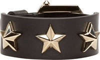 Givenchy Black Leather Star Studded Bracelet
