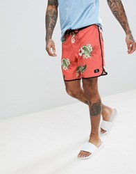 Dc Shoes Swim Boardshort With Floral Print In Pink Porcelain Rose