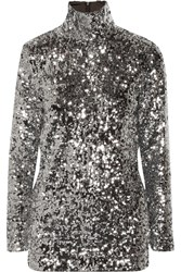 By Malene Birger Zio Sequined Turtleneck Top Metallic