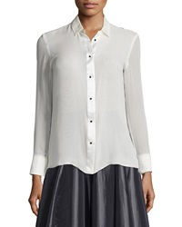 Halston Long Sleeve Button Front Top