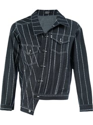 Andrea Crews Striped Denim Jacket Blue
