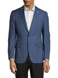 Ted Baker Plaid Print Wool Sportcoat Blue