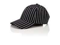 Rag And Bone Men's Pinstriped Wool Cotton Baseball Cap Black White