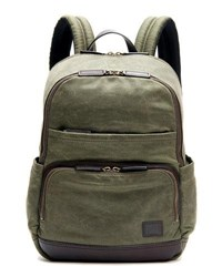 Frye Carter Leather Trim Canvas Backpack Green
