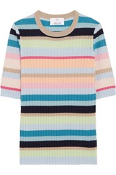 Allude Ribbed Striped Cashmere Top Sky Blue
